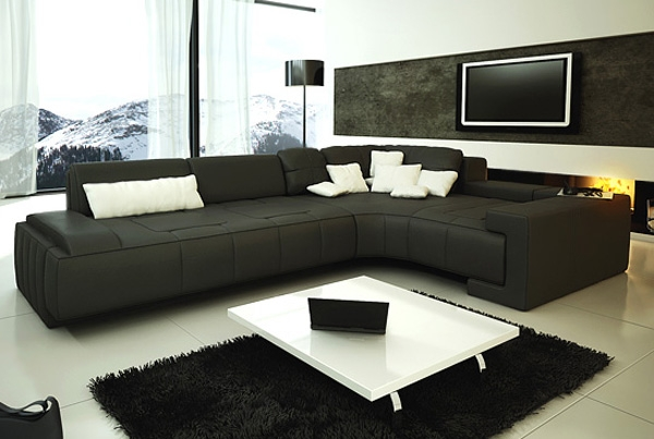 norland contemporary sectional sofa with chaise and two toss pillows sothell collection modern black white set