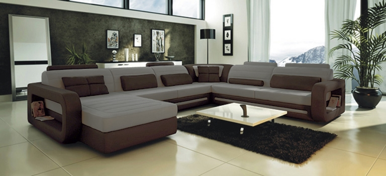 Exceptionnel Ultra Modern Grey Leather Sectional Sofa