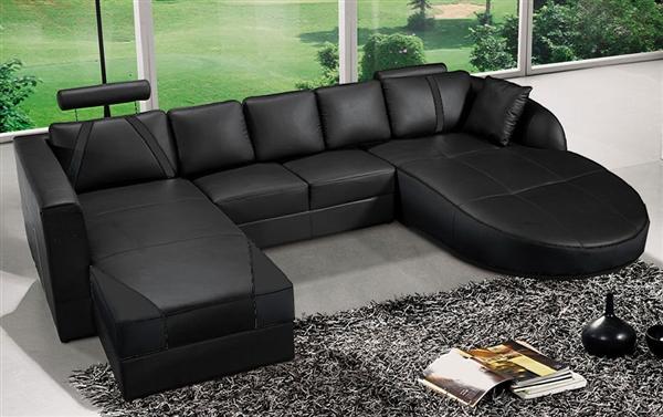 ultra modern black italian leather sectional sofa cp 2211 bk