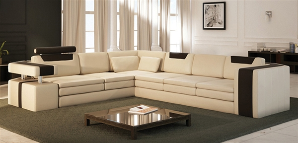 Vista Modern Italian Design Leather Sectional Sofa Cp 9001