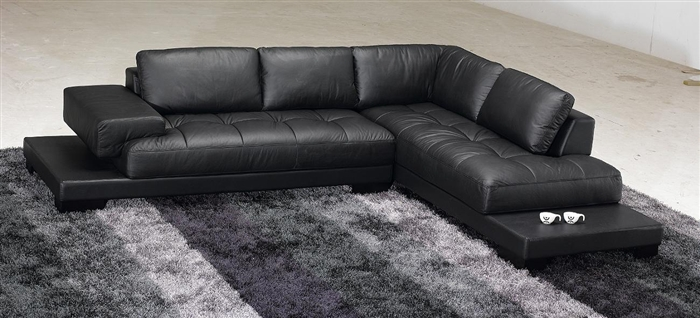 Modern Black Leather Sectional Sofa TOS-FY633-1-BL-SP