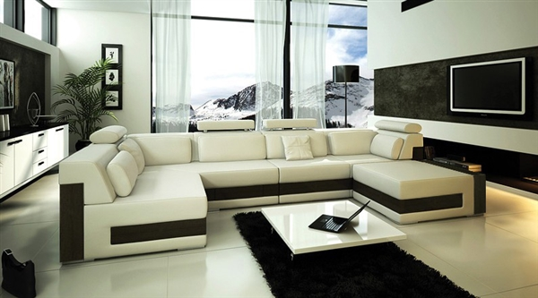 Modern Ivory Leather Sectional Sofa Tos Fy796