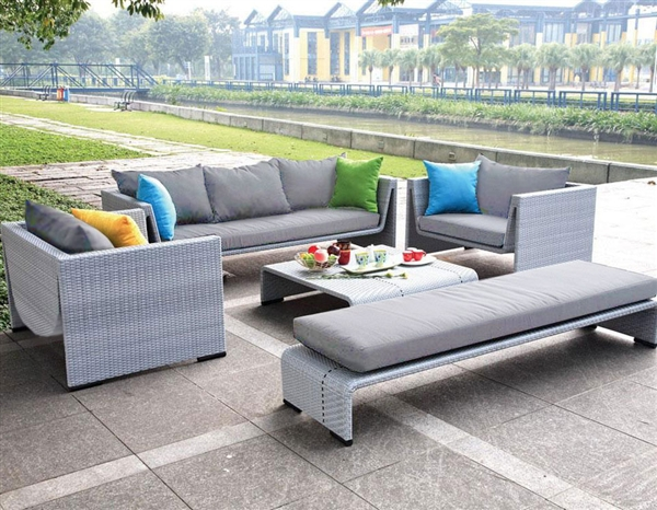 Modern outdoor patio set with lounge chaise and table for Belmont black wicker patio chaise lounge