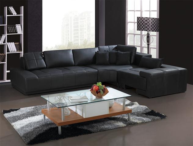 Franco Collection Modern Sectional Sofa - Black TOS-LF-1007-BLACK-SP