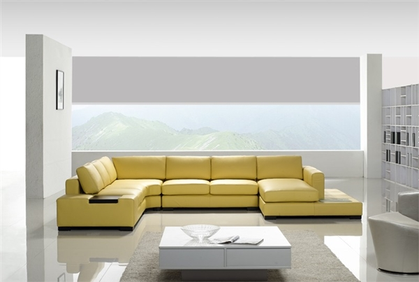 Modern Yellow Leather Sectional Sofa Tos Lf 2029 Yel