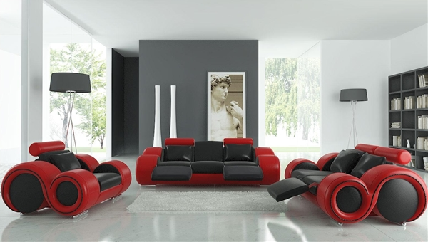 Modern Round Design Black and Red Sofa Set with Adjustable Headrest