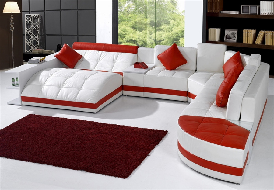 Miami Contemporary Leather Sectional Sofa Set TOS-VT-EX6001-SP