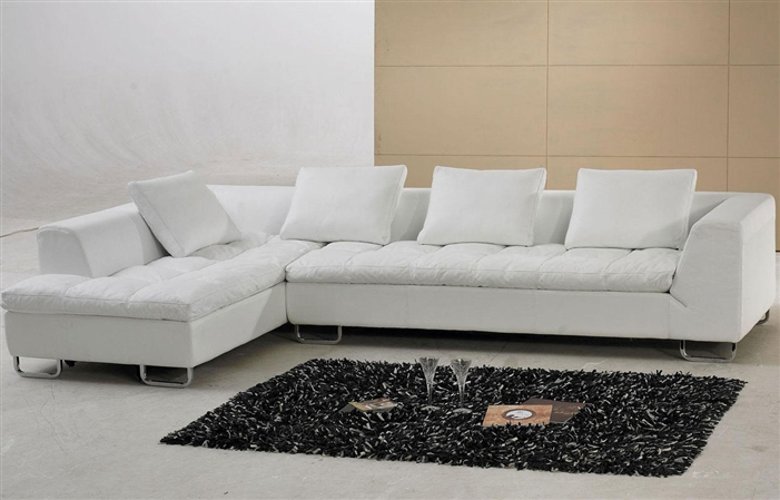 White Leather Sectional Sofa TOS-FY632