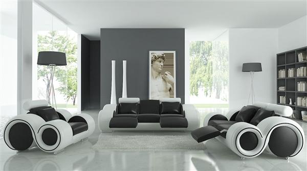 Modern Round Design Black and White Sofa Set with Adjustable Headrest