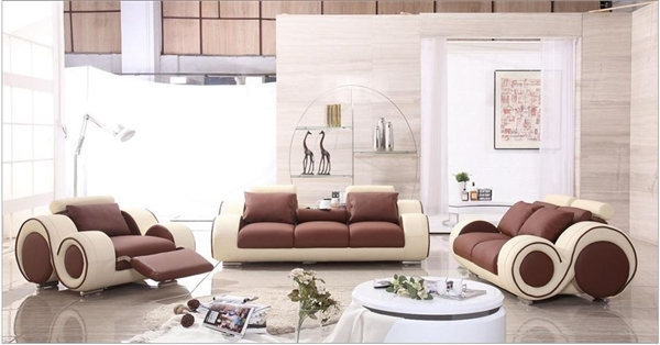 Modern Round Design Brown and Cream Sofa Set with Adjustable Headrest